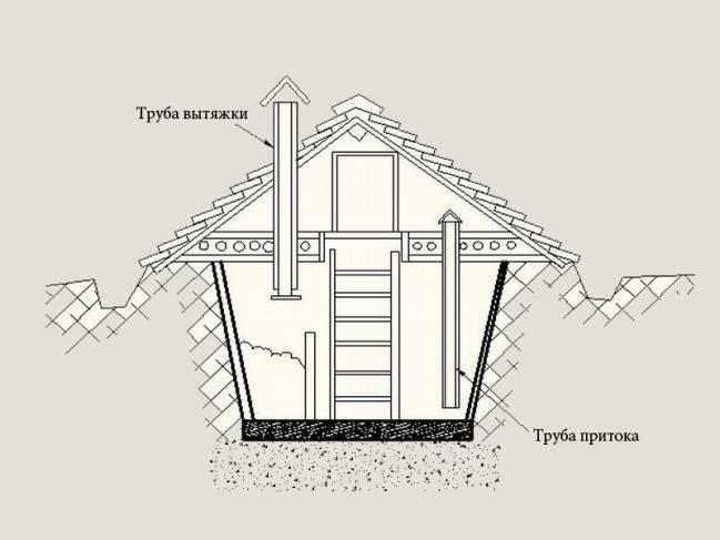 Схема вентиляції льоху